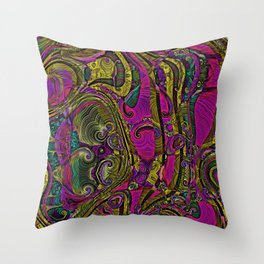Electric Quilt Abstract Art Purple and Gold Throw Pillow