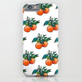 Oranges and Orange Blossom California Citrus Pattern Painting on White iPhone Case