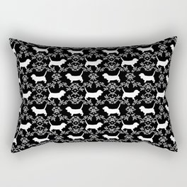 Basset Hound floral silhouette dog pattern minimal black and white pet portraits Rectangular Pillow