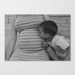 Kissing Baby Sis B&W Canvas Print