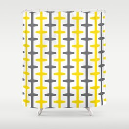 Geometric Pattern 209 (yellow gray) Shower Curtain