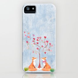 Fox love- foxes animal nature _ Watercolor illustration iPhone Case