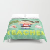 teacher Duvet Covers featuring teacher by Alapapaju