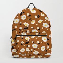 Daisies Pattern - Rust Orange Backpack