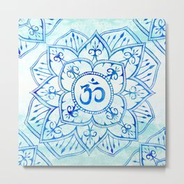 Om Mandala Watercolor Blue and Aqua Metal Print