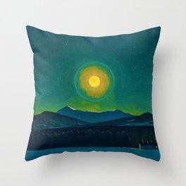 Winter Moonlight Mountain Landscape by Rockwell Kent Appalachian Throw Pillow