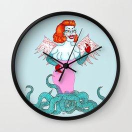 Tacky glamorous alien smoking a cig Wall Clock