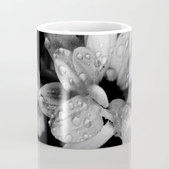 Flower and drops. Black and white. Coffee Mug