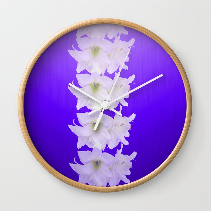 Big chevron with white flowers Wall Clock