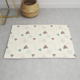 Geometric Pattern with Light Beige Background and Hand Drawn Brown, Turquoise and Yellow Triangles, Doodles and Strokes Rug
