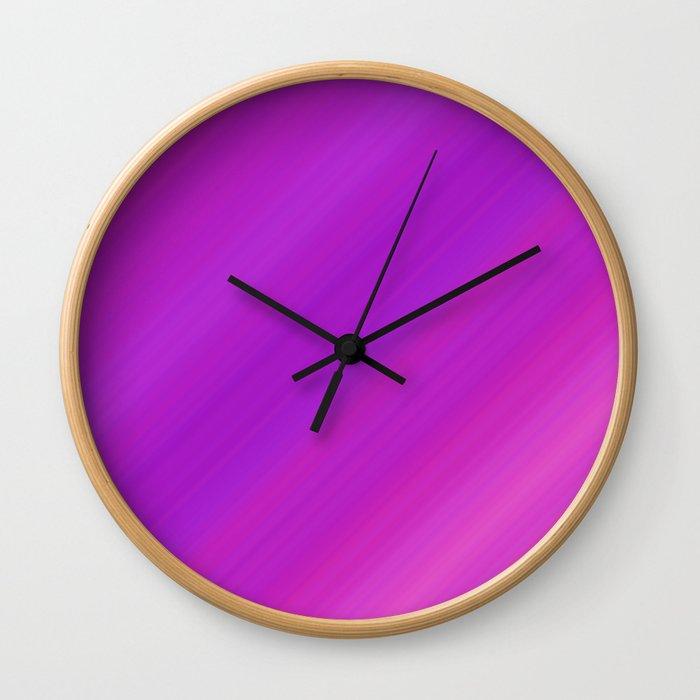 Orange & Purple Diagonal Stripes | Bright gradient pattern Wall Clock