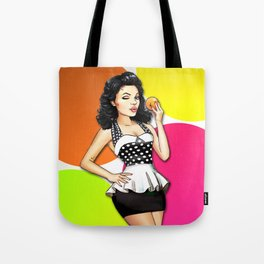 Retro Pinup Girl With Orange - Big Colorful Circles Tote Bag