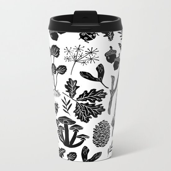 Linocut minimal botanical boho feathers nature inspired scandi black and white art Metal Travel Mug