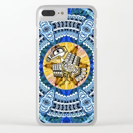 Raven Steals the Sun Pacific Northwest Coast Native Psychedelic Mandala Clear iPhone Case