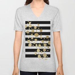 Faux Gold Paint Splatter on Black & White Stripes Unisex V-Neck