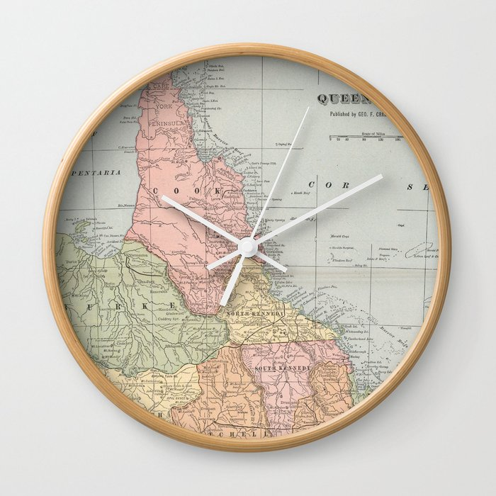 Map Of Australia 1901.Vintage Map Of Queensland Australia 1901 Wall Clock By Bravuramedia
