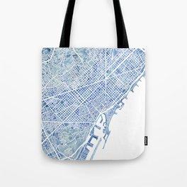 Barcelona Blueprint Watercolor City Map Tote Bag