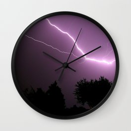 Purple Lightning Night Sky Wall Clock