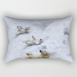 Polar bear mom with twins. Rectangular Pillow