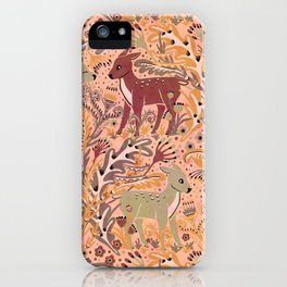 Deer & Doe in Woodland Fern Forest , Cute Stag meets his Love hidden among the Plants iPhone Case