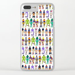Superhero Butts - Power Couple on Violet Clear iPhone Case