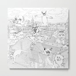 Giant cats and dogs take over the city Metal Print