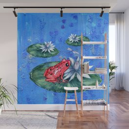 Red Frog on Lily Pad Wall Mural
