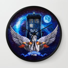 The Angel with Tardis Doctor who iPhone 4 4s 5 5c 6, pillow case, mugs and tshirt Wall Clock