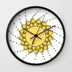Celestial Swirling Sun Boho Mandala Hand-drawn Illustration on White Wall Clock