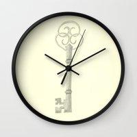 key Wall Clocks featuring Key by Tegan Farrugia