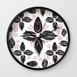 Ottoman tulips black floral pattern Wall Clock