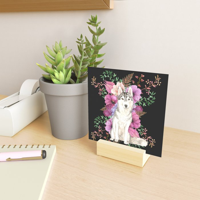 Watercolor Dog Siberian Husky Floral Art Mini Art Print