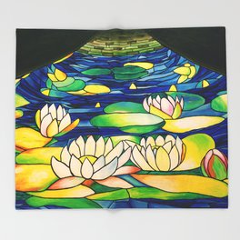 River of Lotus Blossoms Throw Blanket