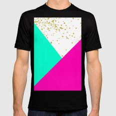 Stylish neon pink turquoise color block gold girly MEDIUM Mens Fitted Tee Black