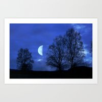 kindle Art Prints featuring Moon between Trees  - JUSTART © by JUSTART