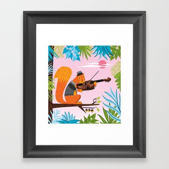 Red Squirrel Serenade Framed Art Print