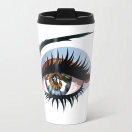 Blue eye with make up Travel Mug