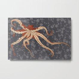 Rad Orange Octopus Metal Print