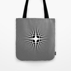 White On Black Convex Tote Bag