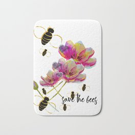 Save the Bees with Pink Mosaic Tulips Bath Mat