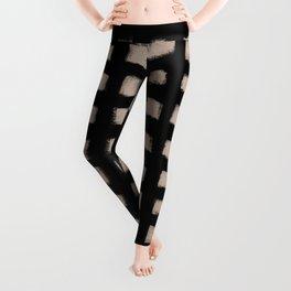 Polka Strokes - Nude on Black Leggings
