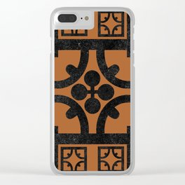 Terracotta English half-timbered Tudor house pattern Clear iPhone Case