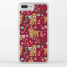 Bichpoo christmas dog breed holidays pet gifts pet friendly stockings candy canes snowflakes Clear iPhone Case