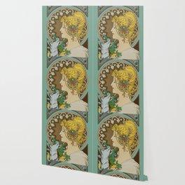 "Alphonse Mucha ""Feather"" Wallpaper"