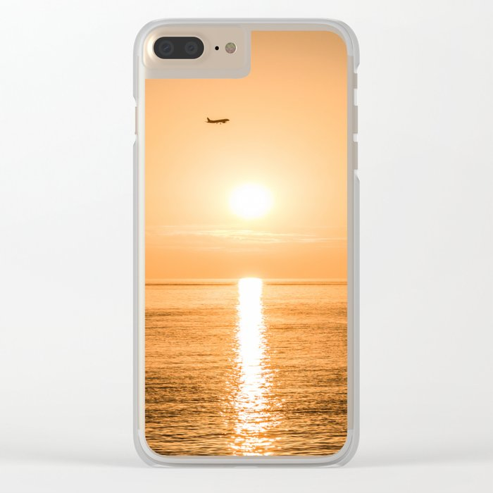 Flight Over The Sea At Sunset Clear iPhone Case