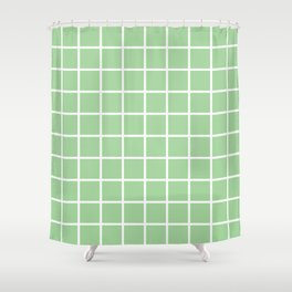 Mint Grid Pattern 2 Shower Curtain