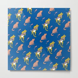 Kitty loves fish on blue background Metal Print