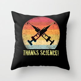 Thanks Science Pro Vaccine Vaccination Retro Vintage Throw Pillow