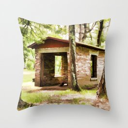 Abandoned brick building in the woods Throw Pillow