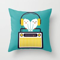 radio Throw Pillows featuring Radio Mode Love by Picomodi